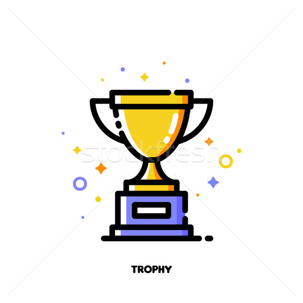 Icon of golden trophy cup for success or winner concept Stock photo © ussr