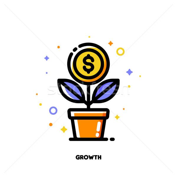 Icon groeiend dollar munt financiële Stockfoto © ussr