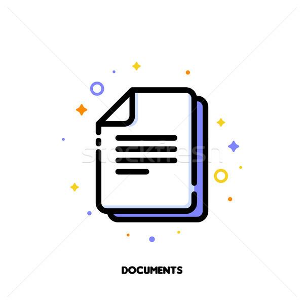 Icon documenten kantoorwerk schets stijl Stockfoto © ussr