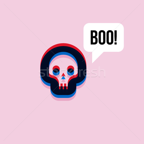 Skull saying boo. 3d effect character with expressive interjecti Stock photo © ussr
