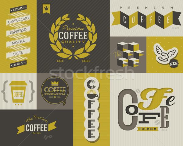 ストックフォト: コーヒー · ラベル · バッジ · コレクション · ベクトル · デザイン