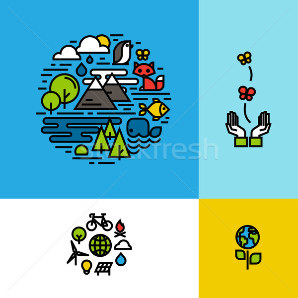Environment, ecology, green planet colorful concepts set Stock photo © ussr