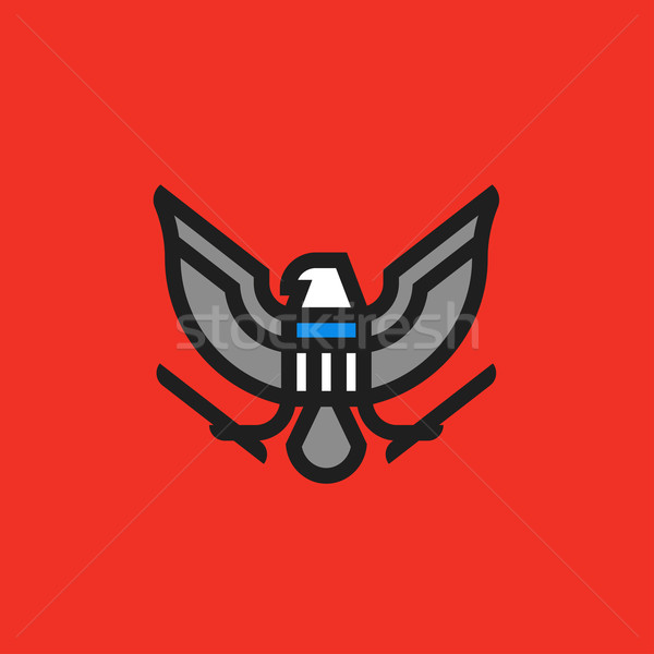 Flat line heraldry symbol of stylized american eagle with shield Stock photo © ussr