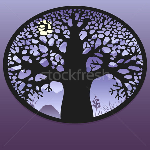 Mysterious tree. Night landscape with moon. Stock photo © ussr