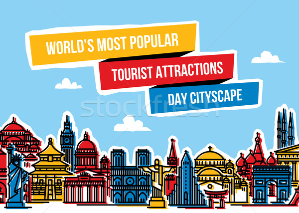 Colorful cityscape with world's most popular tourist attractions Stock photo © ussr