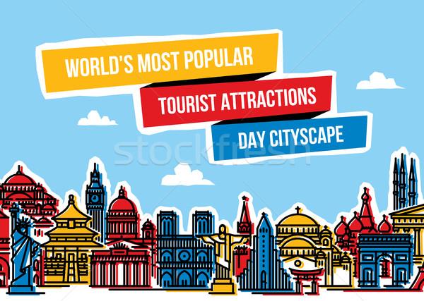 красочный Cityscape популярный туристических современных линия Сток-фото © ussr