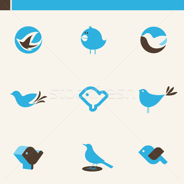 Set of cute blue birds. Elements for design. Icons set. Stock photo © ussr