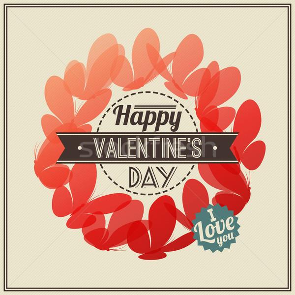 Photo stock: Rétro · saint · valentin · carte · de · vœux · rouge · papillons · heureux