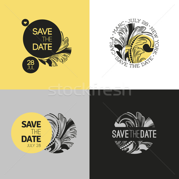 Save the date - wedding graphic set in baroque style. Vector illustration Stock photo © ussr