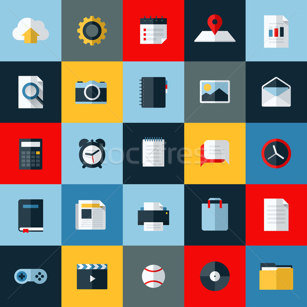 Modern flat vector icons set of universal elements for web and mobile Stock photo © ussr