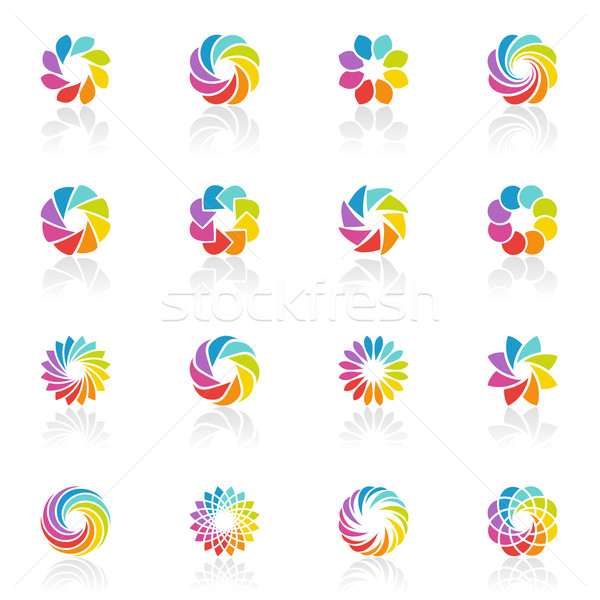 Spectral fantasies. Colorful elements for design. Vector logo template set. Icon set. Stock photo © ussr