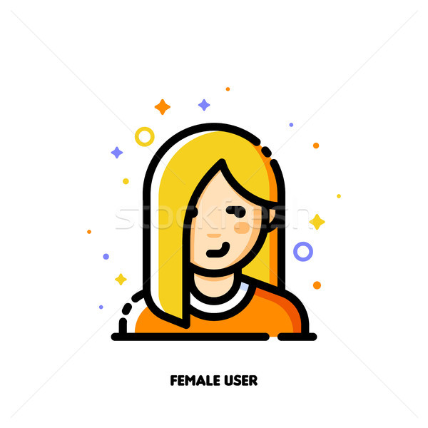 Female user avatar. Icon of attractive girl face. Flat filled Stock photo © ussr