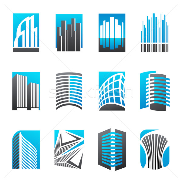 Set of abstract real estate icons illustrating modern architectu Stock photo © ussr