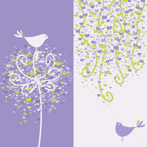 Two pretty love birds and flowery branches. Vector illustration. Stock photo © ussr