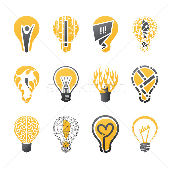Stock photo: Light bulb idea. Vector logo template set. Collection of design