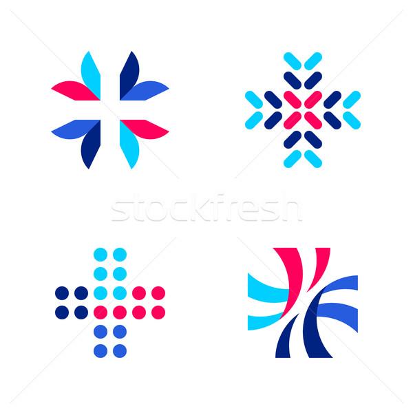 Tıbbi eczane logo şablonları simgeler Stok fotoğraf © ussr