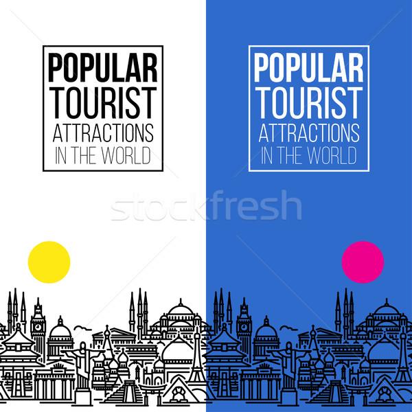 Sem costura banners cityscape popular turista linha Foto stock © ussr