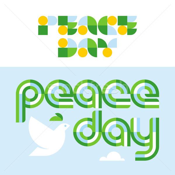 Stock fotó: Béke · nap · kártya · modern · galamb · tart