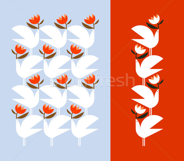 White bird holding red flower.  Vector design elements and pattern Stock photo © ussr