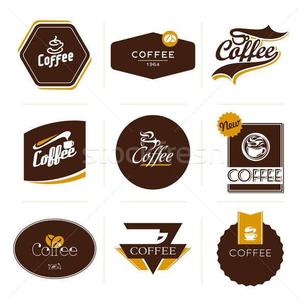 Stock photo: Collection of retro styled coffee labels, frames and badges. Vector illustration.