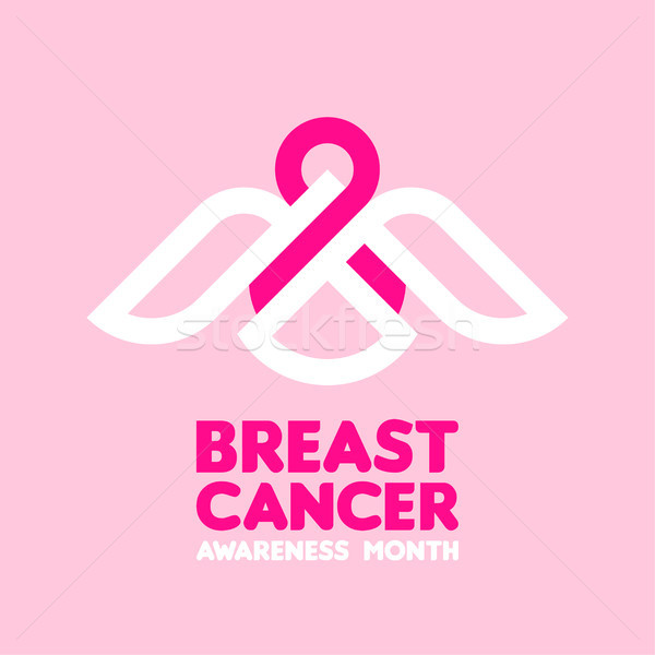Stock photo: Bird holding pink ribbon as symbol of breast cancer awareness