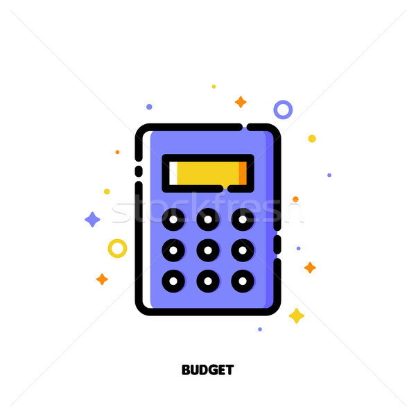 Icon of calculator for business budget concept. Flat filled outline Stock photo © ussr