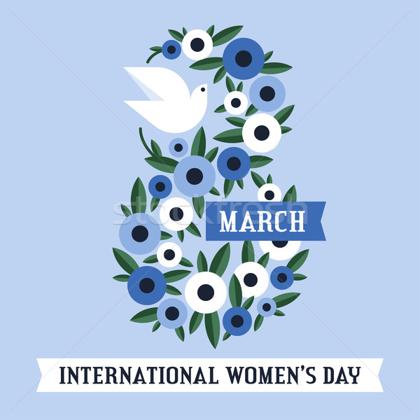 White dove and flowers of anemone and 8 March lettering on blue ribbon. International women's day gr Stock photo © ussr