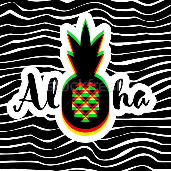 Poszter nyomtatott modern mértani ananász aloha Stock fotó © ussr