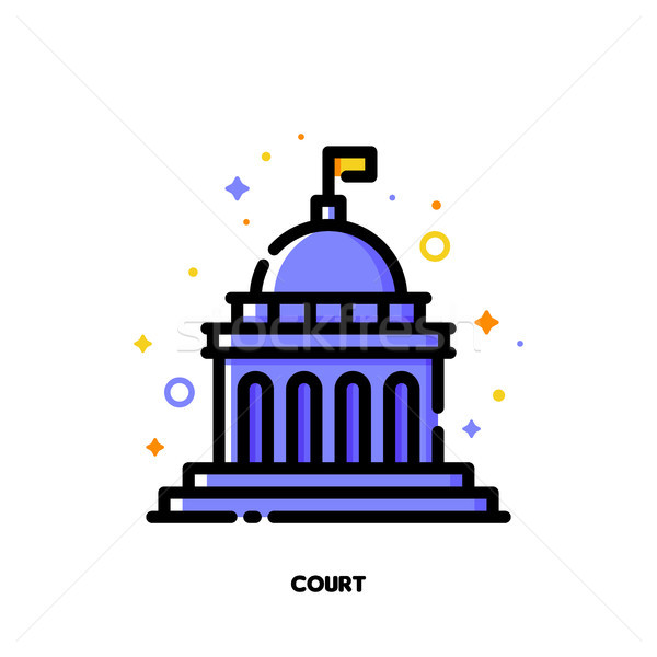 Icon of court building for law and justice concept. Flat filled  Stock photo © ussr