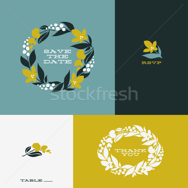 Floral wreath. Set of beautiful flat vector design elements Stock photo © ussr