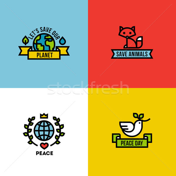 Stock photo: Flat line design style vector illustration of green planet, peace day and save the animals