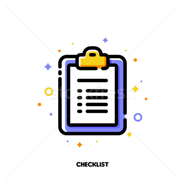 Icon of clipboard with checklist and checkmarks for office work  Stock photo © ussr