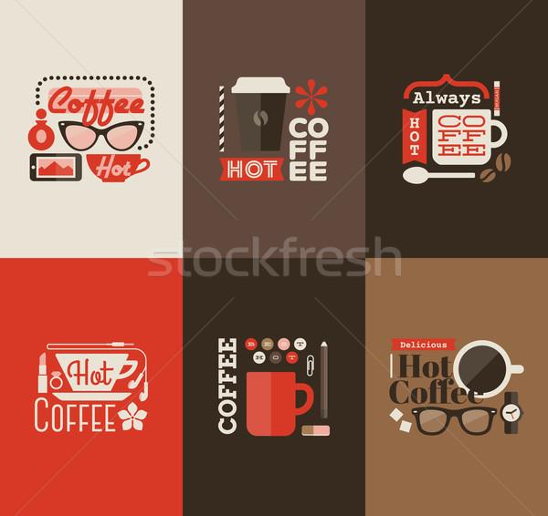 Stock fotó: Forró · kávé · szett · vektor · terv · elemek