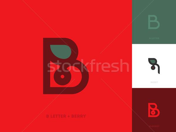 линия стиль логотип шаблон письме красный Сток-фото © ussr