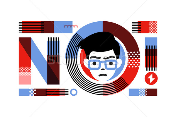 Stock photo: Young angry male character in frame of slogan NO lettering. Flat style concept for prohibition or pr