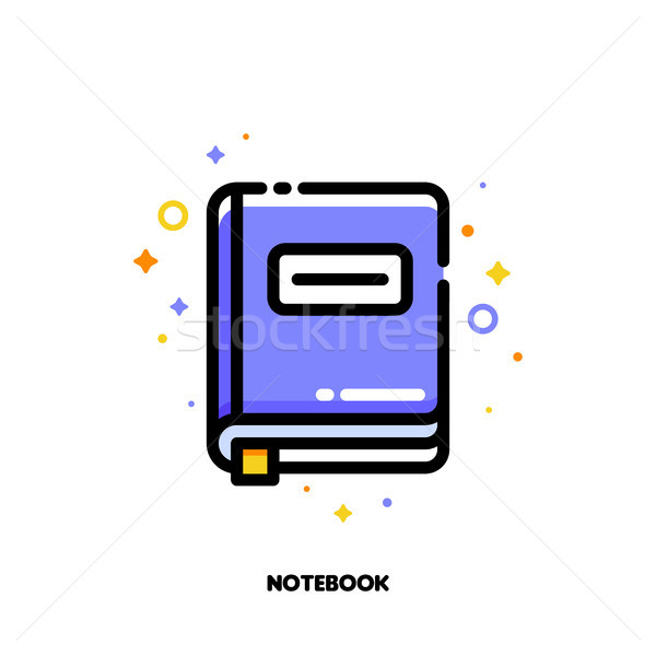 Icon of notebook with bookmark for office work concept Stock photo © ussr