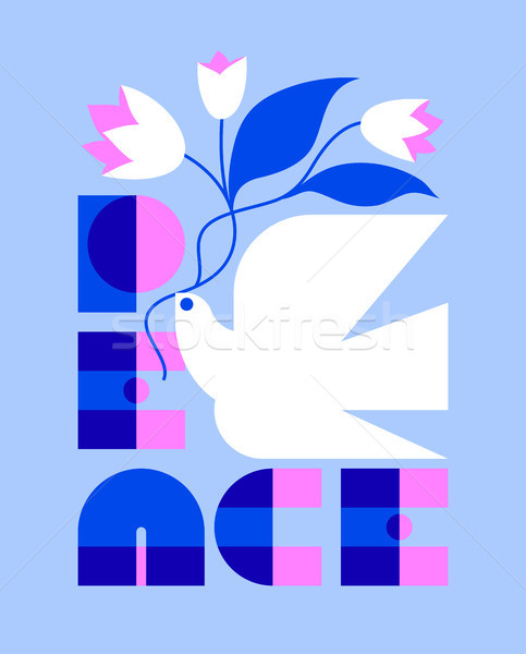 Peace day greeting card with elegant retro lettering and dove Stock photo © ussr