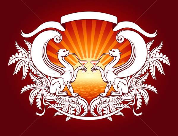 Aristocratic chillout. Modern heraldry vector illustration. Stock photo © ussr