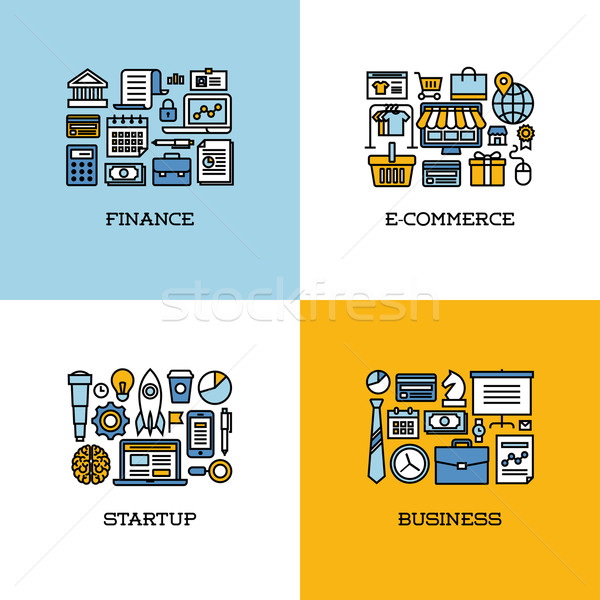 Flat line icons set of finance, e-commerce, startup, business Stock photo © ussr