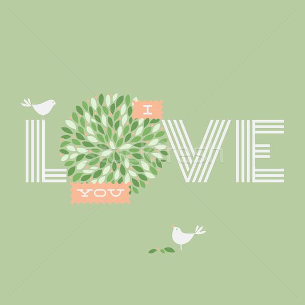 Photo stock: Carte · de · vœux · amour · deux · joli · oiseaux · mariage