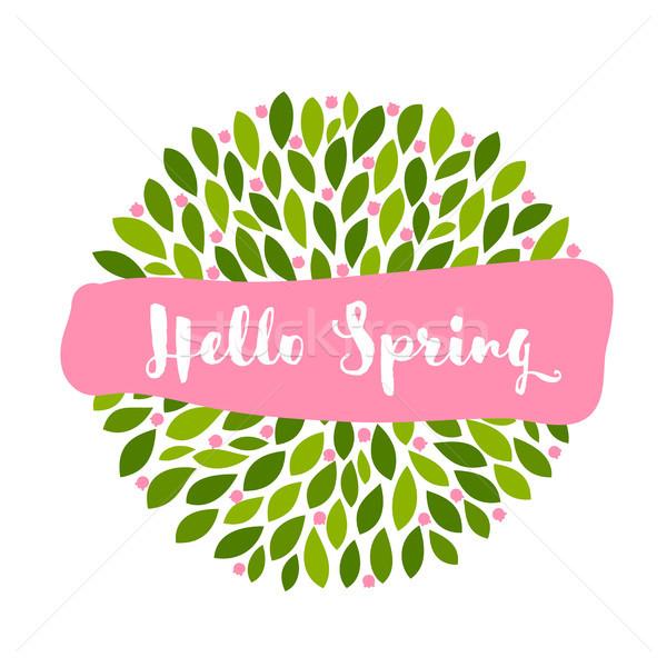 привет весны розовый баннер Cute мало Сток-фото © ussr