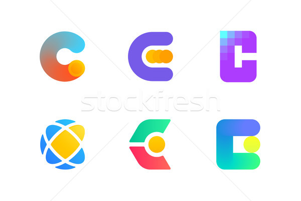 Modern logo template or icon of letter C for cryptocurrency Stock photo © ussr