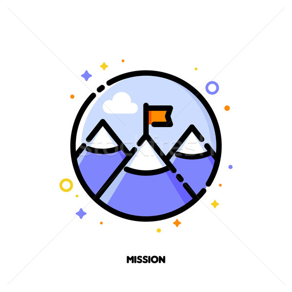 Icon of red flag on mountain peak for business mission concept Stock photo © ussr