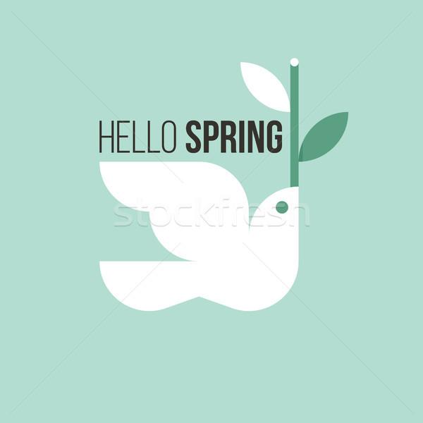 ストックフォト: 白 · 鳥 · 春 · 小枝 · 薄緑 · 葉