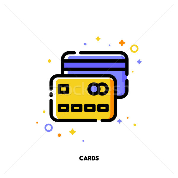 Icon of credit cards for money concept. Flat filled outline Stock photo © ussr