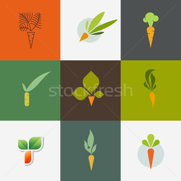 морковь набор декоративный дизайна Элементы оранжевый Сток-фото © ussr