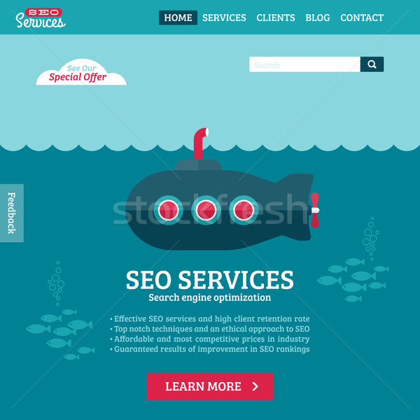 Flat design vector website template of SEO website searching optimization with cartoon submarine Stock photo © ussr