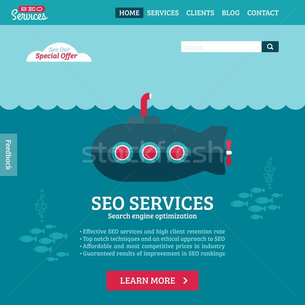 Ontwerp vector website sjabloon seo zoeken Stockfoto © ussr