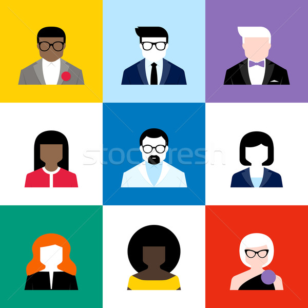 Stock photo: Modern flat vector avatars set. Colorful male and  female user icons