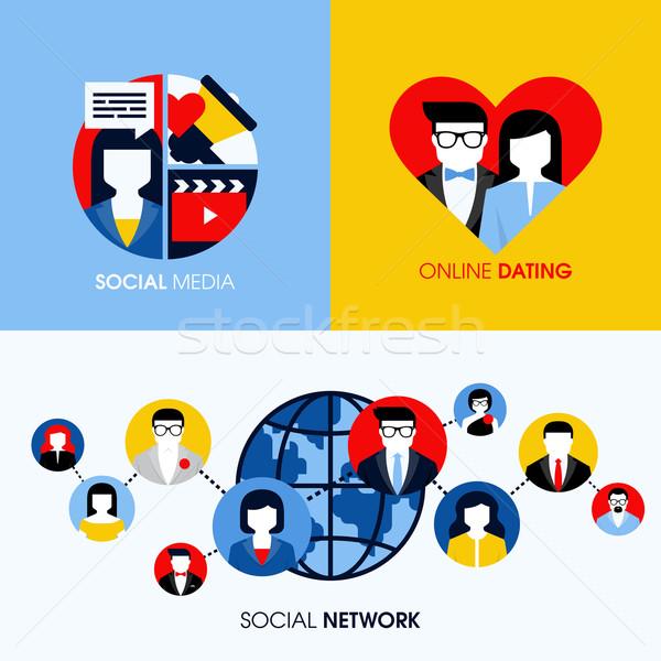 Stockfoto: Social · media · online · dating · moderne · vector